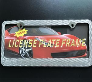 China Rhinestone Diamond Bling Crystal License Plate Frame , Girly License Plate Frames supplier