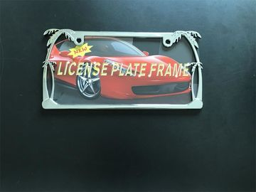 Silver Chrome Metal License Plate Frames With Beautiful Palm Trees Pattern