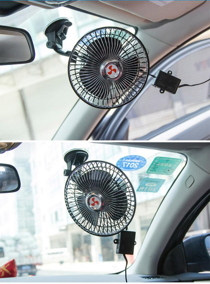 Strong Sucker Clip Car Fan 6 Inch Automatic Shaking Head With Speed Control Switch